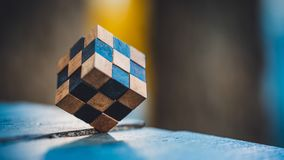 Wooden Rubik`s Puzzle Cube Solution royalty free stock photos
