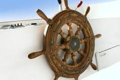 Wooden rudder. Closeup of wooden rudder on tourist boat Stock Photos
