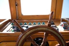 Wooden rudder. In a ship Stock Photos