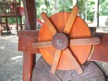 Wooden rudder on forest children playground. Wooden rudder of playing equipment on forest children playground stock photography