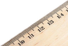 Wooden ruler. On white background royalty free stock photo