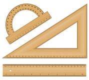 Wooden ruler instruments vector illustration