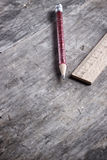 Wooden ruler and pen Royalty Free Stock Photos