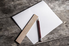 Wooden ruler and pen Royalty Free Stock Image