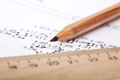 Wooden ruler and pencil Stock Photo