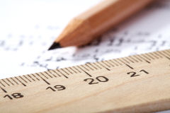 Wooden ruler and pencil Stock Photos