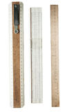Wooden rulers, isolated on a white background Stock Photo