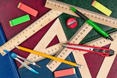 Wooden rulers stock images
