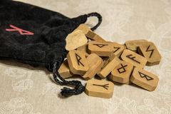 Wooden runes with bag. Wooden runes with black bag. Esoteric subjects Royalty Free Stock Images