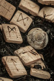 Wooden runes on the ground Royalty Free Stock Photo