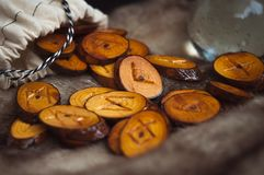 Free Wooden Runes On The Fur Royalty Free Stock Photography - 102784527