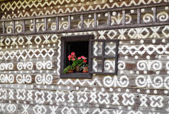 Wooden rural ornamental house in Cicmany, Slovakia Royalty Free Stock Photography