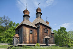 Wooden rural Ukrainian Orthodox church Stock Images