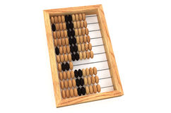 Wooden Russian Abacus with beads. Isolated on white background stock illustration