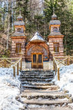 Wooden Russian Chapel on the Vrsic Pass-Slovenia Royalty Free Stock Photo