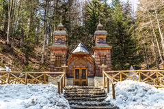 Wooden Russian Chapel on the Vrsic Pass-Slovenia Royalty Free Stock Image