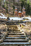 Wooden Russian Chapel on the Vrsic Pass-Slovenia Royalty Free Stock Photos