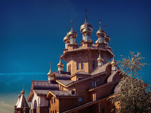 Wooden russian church. Of the Holy Martyrs Faith, Hope and Charity and their mother Sophia in Belgorod, Russia royalty free stock photos