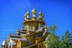 Wooden russian church. Of the Holy Martyrs Faith, Hope and Charity and their mother Sophia in Belgorod, Russia royalty free stock photo