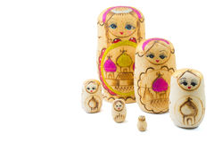 Wooden russian dolls Stock Images