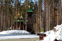 Wooden Russian Orthodox Christian Church of St. Sergius of Radonezh in Ganina Yama Monastery. Stock Photos