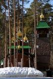 Wooden Russian Orthodox Christian Church of St. Sergius of Radonezh in Ganina Yama Monastery. Stock Images