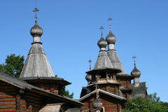 Wooden Russian Orthodox church Stock Images