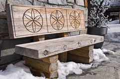Wooden rustic bench Stock Images
