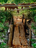 Wooden rustic bridge Royalty Free Stock Photo