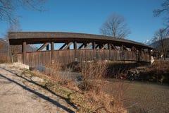 Wooden rustic bridge over loisach river, garmisch-partenkirchen Royalty Free Stock Photos