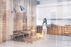 Wooden rustic dining room corner toned royalty free stock photography