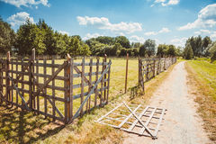 Wooden rustic fence Royalty Free Stock Photo