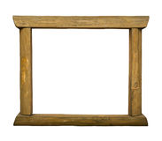 Wooden rustic frame on white background Royalty Free Stock Photo
