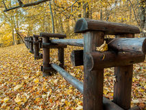 Wooden rustic log fence Stock Image