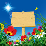 Wooden rustic signboard with green grass and wild flowers agains Royalty Free Stock Photography