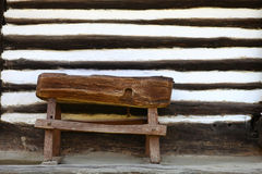 Wooden rustic small bench Stock Images