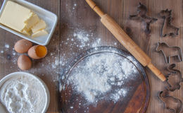Wooden rustic table with everything you need for baking cookies Stock Image