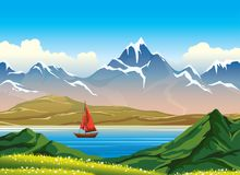 Summer nature landscape - mountains, lake, sailboat, grass, sky. Wooden sailboat and blue calm lake, snowy mountains and green grass with flowers on a blue sky Stock Photography