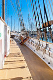Wooden sailboat deck Royalty Free Stock Image