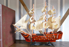 Wooden sailboat model Stock Photography