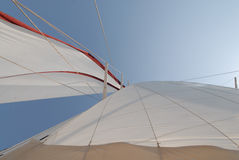 Wooden sailboat on sail Stock Photos