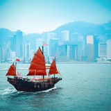 wooden sailboat sailing in victoria harbor Stock Photo
