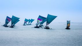 Wooden sailbots on the Bay of Bengal, stock image