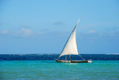 Wooden sailing boat at sea Stock Images