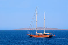 Wooden sailing ship. With two masts at sea Stock Photography