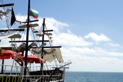 Wooden sailing ship on a background of sea Stock Photography