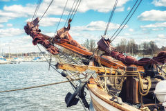 Wooden Sailing ship Bowsprit. Bowsprit of a Wooden Sailing ship at the harbour of Helsinki, Finland Royalty Free Stock Photography