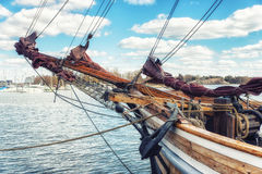 Wooden Sailing ship Bowsprit. Bowsprit of a Wooden Sailing ship at the harbour of Helsinki, Finland Royalty Free Stock Photo