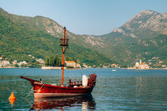 Wooden sailing ship. Montenegro, Bay of Kotor. Water transport Royalty Free Stock Photo