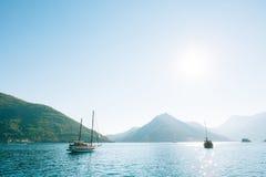Wooden sailing ship. Montenegro, Bay of Kotor. Water transport Royalty Free Stock Images